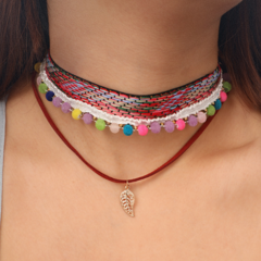 KiliFun Collection Bohemian Ethnic Style Colorful Ribbon Choker Necklace Layers and Leaf Pendant colorful multiple