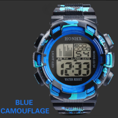 KiliFun Collection HONHX Brand Outdoor Multifunctional Sport Digital Camouflage Watch camouflage blue one size
