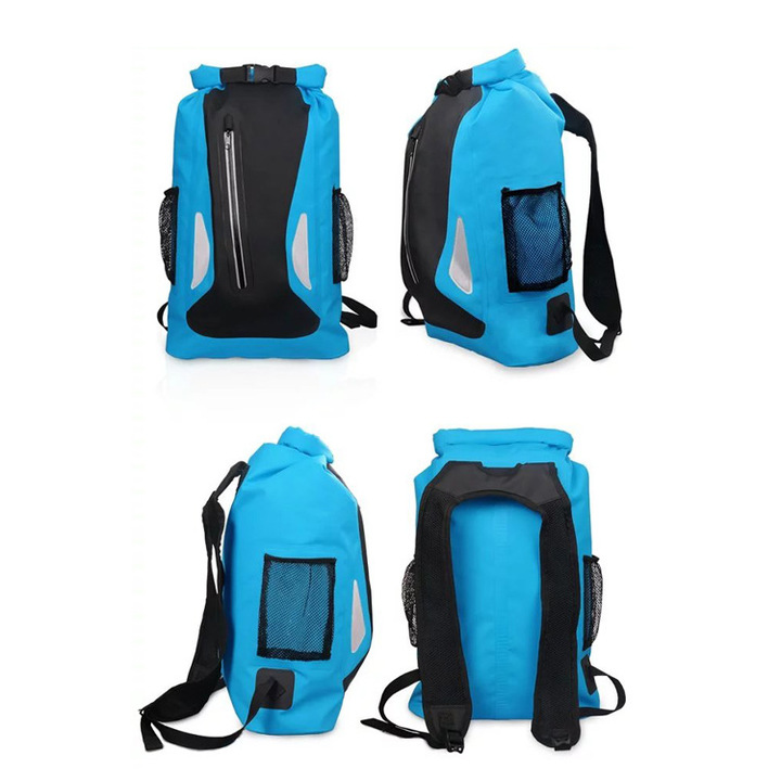 KiliFun Collection 25L Outdoor Zipper Bottle Mesh Pocket PVC Waterproof Ocean Pack Dry Bag Backpack sky blue 25L
