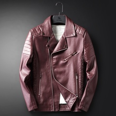 KiliFun Collection High Quality Men's Lapel Jacket PU Leather Clothing Bomber Jacket red M