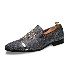 KiliFun Collection British Style Men's Metal Rivet Casual Dance Fashion Casual Wedding Shoes black 38 microfiber leather+rubber