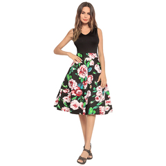 KiliFun Collection Sleeveless Dot Floral Printed Patchwork A Line High Waisted Dress Skirt s red