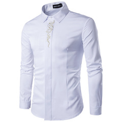 KiliFun Collection Stand Collar Gold Embroidery Long Sleeve Slim Fit Cotton Male Men Shirts White S