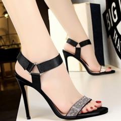 KiliFun Collection High Heel Shoes Women Thin Heel Fish Mouth Shoes black 34