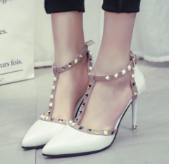 KiliFun Collection Studded Pointed Buckle Slim Female Sandals Rivets Sandals High Heel Shoes white 34