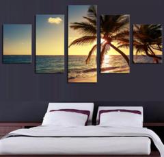 KiliFun Collection 5 Pcs Beach Coconut Tree Unframed Seascape Wall Art Pictures Decorative Painting Beach+Coconut Tree 20*30cm*2+20*40cm*2+20*50cm*1