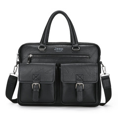 KiliFun Collection Brand jeep buluo Messenger Travel Business Shoulder Bag Vintage Genuine Men Black 38cm*7cm*28cm