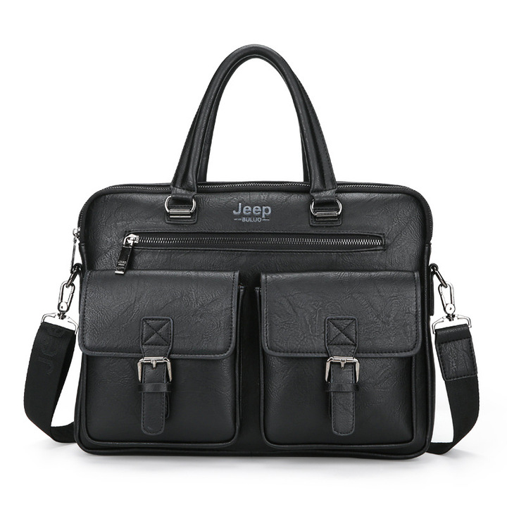 KiliFun Collection Brand jeep buluo Messenger Travel Business Shoulder Bag Vintage Genuine Men Black 38cm*7cm*28cm