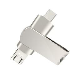 KiliFun Collection Metal Rotatable USB Flash Memory For Android Micro Type-C OTG and U Disk Silver S50 16G