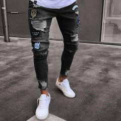 KiliFun Collection NK35 New Tide Badge Jeans Men's Trend Knee Hole Zipper Small Feet Denim Trousers black s