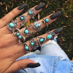 KiliFun Collection 11pcs/set Vintage Knuckle Rings for Women Boho Geometric Heart Bohemian Jewelry silver multiple