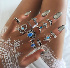 KiliFun Collection 13 PCS/SET Vintage Elephant Turtle Crystal Crown Rings Set for Women Jewelry Gift silver multiple