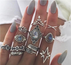 KiliFun Collection 11 Pcs/set Women Boho Carving Crystals Ring Set Vintage Feather Geometry Rings silver multiple