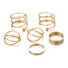 KiliFun Collection 6 pcs/Set Gold Filled Glossy Spring Ring Set Women' Jewelry golden multiple