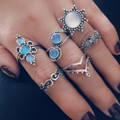 KiliFun Collection 6pcs/Set Flower Opal National Ring Set Women' Jewelry colorful multiple
