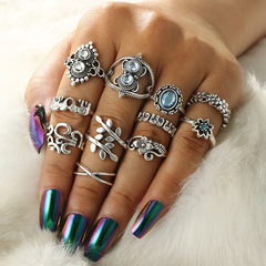KiliFun Collection 14 Styles Boho Knuckle Rings for Women Bohemian Jewelry silver multiple