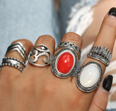 KiliFun Collection 7pcs/Set Vintage Antique Set for Women Bohemian Rings Jewelry silver multiple
