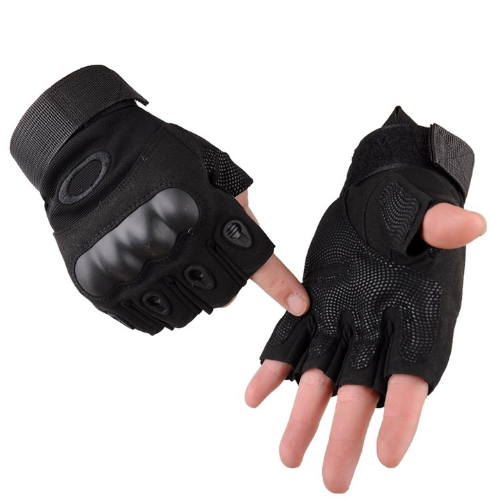 KiliFun Collection Outdoor Sports Military Tactical Airsoft Anti-slip Half Finger Gloves black xl