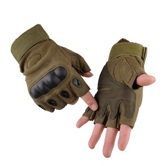 KiliFun Collection Outdoor Sports Military Tactical Airsoft Anti-slip Half Finger Gloves green xl