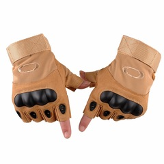 KiliFun Collection Outdoor Sports Military Tactical Airsoft Anti-slip Half Finger Gloves Brown XL
