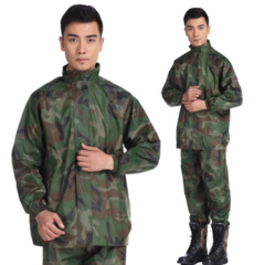 KiliFun Collection Military Poncho Raincoat Men Outdoor Waterproof Rainwear and Pants Set with Hat Camouflage/2XL