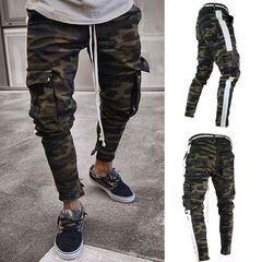 KiliFun Collection NK47 Men's Multi-pocket Feet Trouser Side Ribbons Camouflage Trouser camouflage s