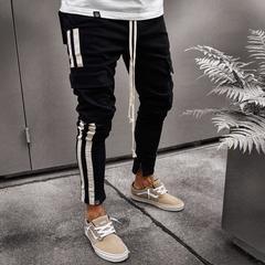 KiliFun Collection NK57 Men's Multi-pocket Zipper Feet Trouser Side Webbing Trouser black s