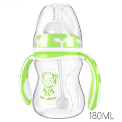 KiliFun Collection Milk Sister Newborn PP Bottle 180ml Silicone Pacifier Wide Caliber Dandle Curved Green 180mL