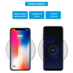 KiliFun Collection Ultra-Thin Crystal K9 Wireless Charger Fast Charge Base Transmitter Black and White 5W