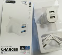 KiliFun Collection TITAN TC-206 5v 2,4A Dual 2USB Port+Micro Port Quick Fast Charger White one size
