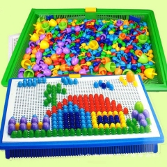 Children Kids Early Education Toys Creative Peg Board with 296 Pegs Jigsaw Toy Color 296