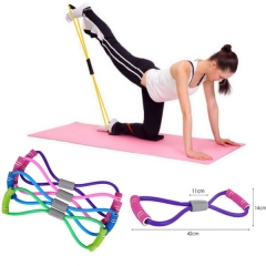 New Gym 8 Word Chest Developer Rubber LOOP Latex Fitness equipment Stretch yoga training  elastic #3 40cm x 15cm