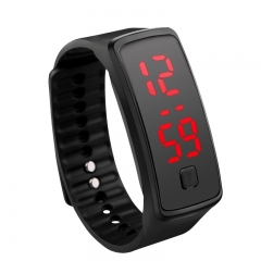 Sport Bracelet LED Watch Sport Watch Fashion Digital Watch Date Time Wristwatch Colorful Rubber Band Black One size