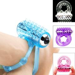 1pcs mini Vib-rators rings double Delay S-ex Toys product for Men Blue none
