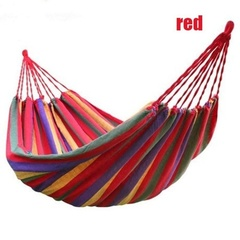 Portable Durable Comfortable Woven Nylon Rainbow Swing Hammock Outdoor Camping Supplies Support Up red 80 gift bag and rope