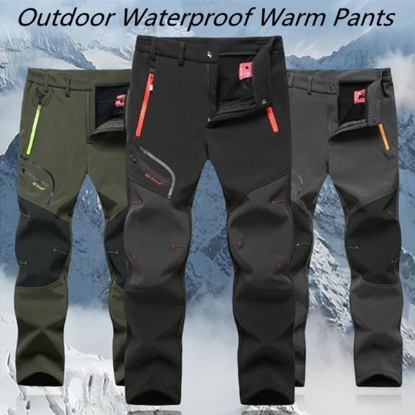 New Mens Spring Outdoor Thin and Thick Waterproof Hiking Trousers Camping Climbing Fishing Skiing BLACK(for woman) L