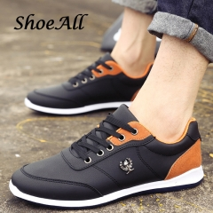 ShoeAll 1 Pairs PU Leather Quality Casual Rubber Sole Sneakers Men Shoe Black 44
