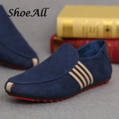 ShoeAll 1 Pair Quality Men Casual Loafers Rubber Flat Sole Men Shoe Blue 43