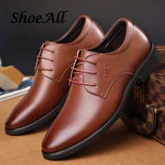 ShoeAll 1 Pairs Classic PU Leather  Flat Formal Light Men Shoe Brown 44 PU Leather