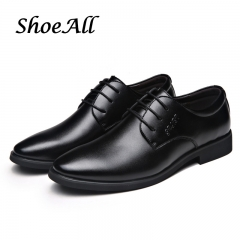ShoeAll 1 Pairs Classic PU Leather  Flat Formal Light Men Shoe Black 43 PU Leather