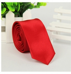 ShoeAll Men Solid Classic Polyester Slim Neck Ties Wine red Length 145cm