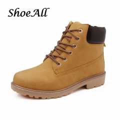 ShoeAll 1 Pairs Casual PU Leather Quality Boots For Men Lace Up Boot Shoes Yellow 39