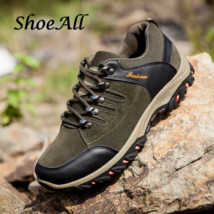 ShoeAll 1 Pairs Quality Outdoor Sports Hiking Boot Shoes Men Casual Sneakers Men's Shoe Green 44