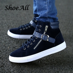 ShoeAll 1 Pair Men Casual Sneakers High Top Sport Fashion Quality Men Shoe Dark Blue 42