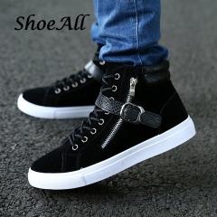 ShoeAll 1 Pair Men Casual Sneakers High Top Sport Fashion Quality Men Shoe Black 39