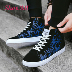ShoeAll 1 Pair Men Casual Sneakers High Top Sport Fashion Quality Men Shoe Black+Blue 40
