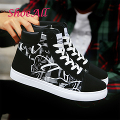 ShoeAll 1 Pair Men Casual Sneakers High Top Sport Fashion Quality Men Shoe Black+ White 43