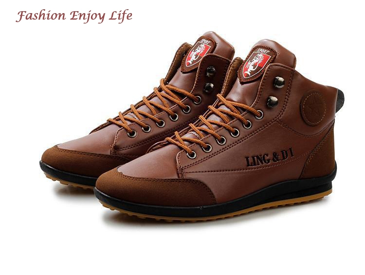 ShoeAll 1 Pair Men Casual Sneakers Loafers Fashion Quality Men Shoe Brown 39 4