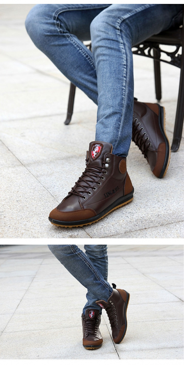 ShoeAll 1 Pair Men Casual Sneakers Loafers Fashion Quality Men Shoe Brown 39 9