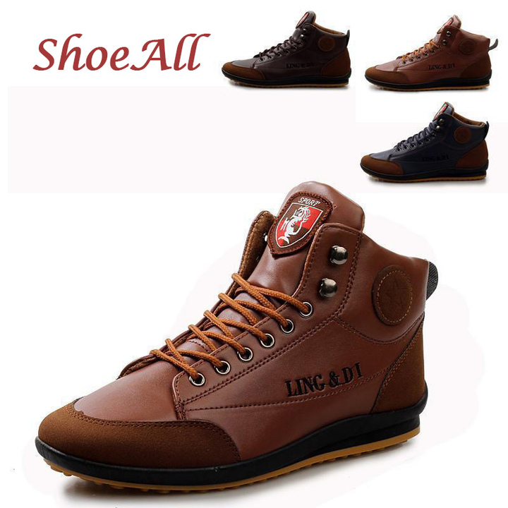 ShoeAll 1 Pair Men Casual Sneakers Loafers Fashion Quality Men Shoe Brown 39